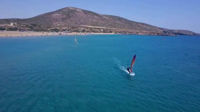 stockvideo's en b-roll-footage met windsurfers in actie - rodos dodecanese eilanden