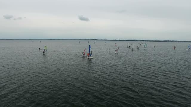 windsurfing school. hel, poland - bay of water stock videos & royalty-free footage