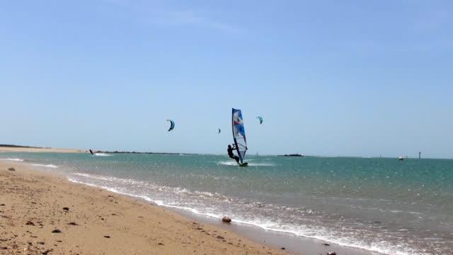 windsurfing - cádiz stock videos and b-roll footage