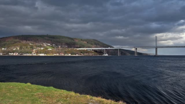 Windy day at Kessock Bridge, Black Isle, North Coast 500 route, Inverness, Scotland