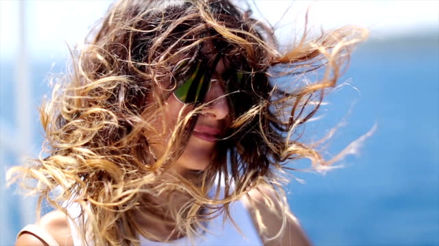 windy day on ferry - fashionable stock videos & royalty-free footage