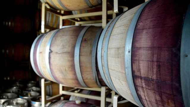 Wine barrel aging room at winery