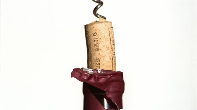 ecu wine bottle being opened with corkscrew - wine bottle stock videos & royalty-free footage