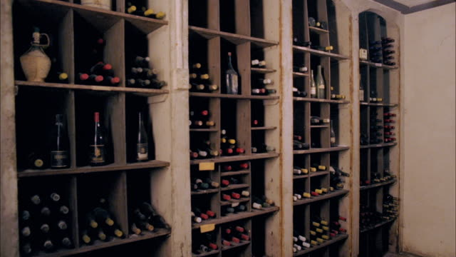 ms, wine bottles in cellar, marlboro, new york state, usa - wine cellar stock videos and b-roll footage