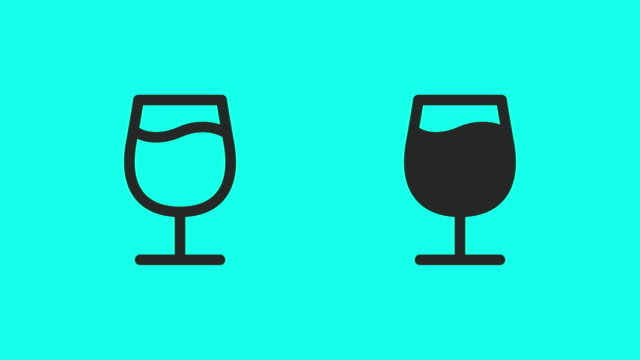 wine glass icons - vector animate - waving icon stock videos & royalty-free footage