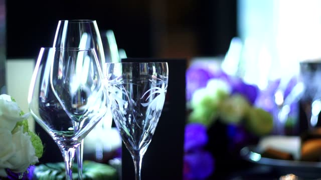 wine glass set on the table - drinking glass stock videos & royalty-free footage
