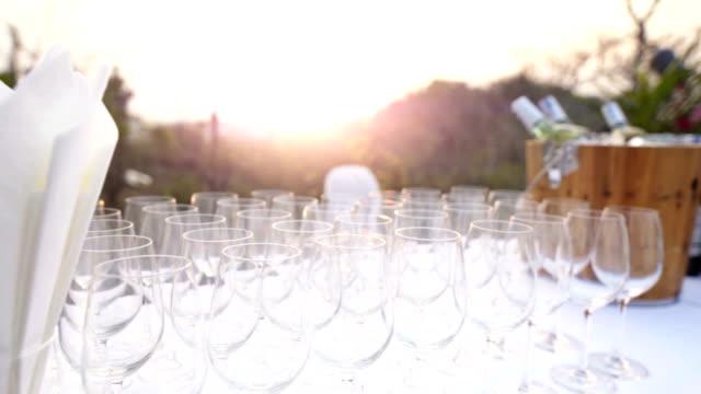 vídeos de stock e filmes b-roll de copos de vinho em uma tabela - copo vazio