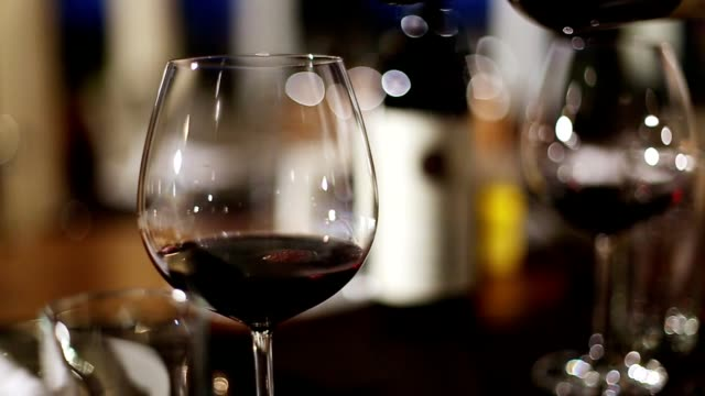 wine pouring fine dining restaurant - happy hour video stock e b–roll