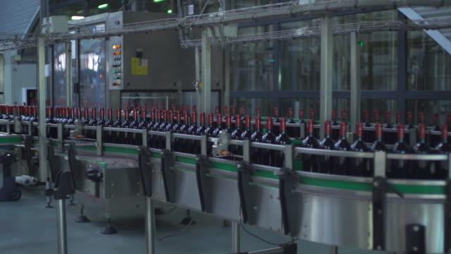 vidéos et rushes de production de vin remplis de bouteilles de vin dans les premières - chaîne de production