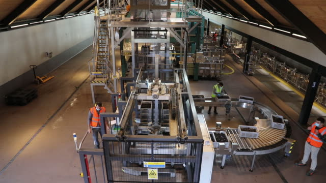 wine production line at nyetimber winery in tillington and west chiltington, u.k., on wednesday, october 7, 2020. - grape stock videos & royalty-free footage