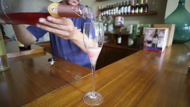 wine tasting at the cooperativa vinícola são joão, southern brazil. - リオグランデドスル州点の映像素材/bロール