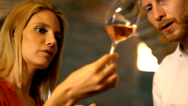 wine tasting in a wine cellar. - rose wine stock videos and b-roll footage