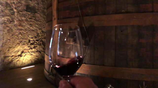 wine tasting in cellar during weekend activities in the spanish region of priorat. - アロマ点の映像素材/bロール