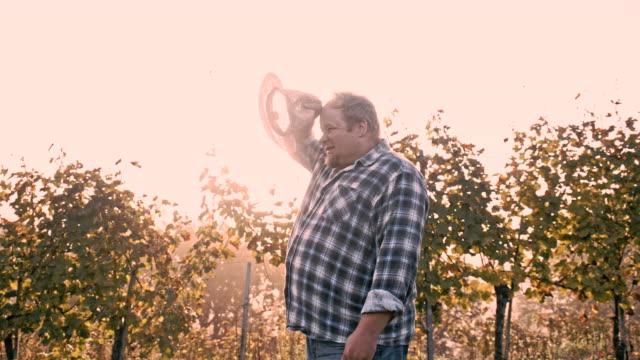 vídeos y material grabado en eventos de stock de ws winegrower en el viñedo - campesino
