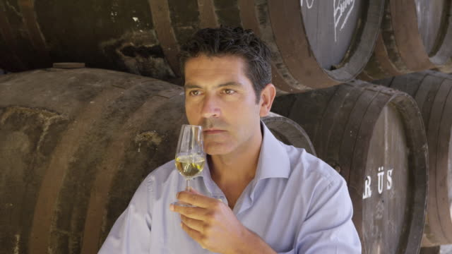 CU Winemaker smelling and checking wine / Sanlucar de Barrameda, Andalusia, Spain