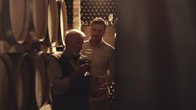 winemakers at wine cellar drinking wine - vino video stock e b–roll