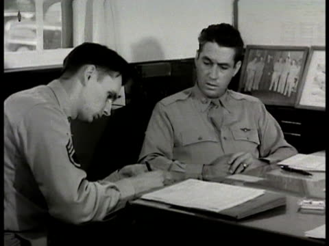 wing commander colonel schilling sitting w/ wing commander colonel william t hudnell in office ms colonel william t hudnell ms colonel david... - 1948 stock videos & royalty-free footage