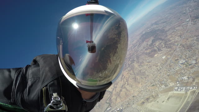 Wingsuit Flight - Helmet Reflection With Visible GoPro