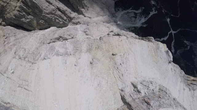 Wingsuit flyer POV jumping from cliff