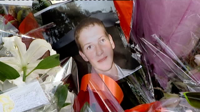 winner of tv reality show 'i'm a celebrity' pledges money to anticrime campaign june 2008 london tribute flowers and photograph of ben kinsella - i'm a celebrity... get me out of here stock videos & royalty-free footage