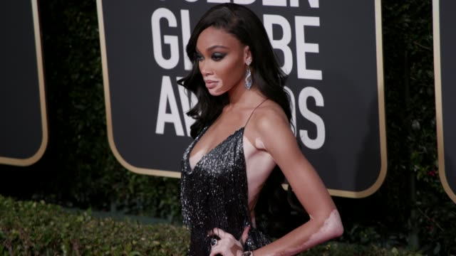 winnie harlow at 77th annual golden globe awards at the beverly hilton hotel on january 05, 2020 in beverly hills, california. - golden globe awards stock videos & royalty-free footage