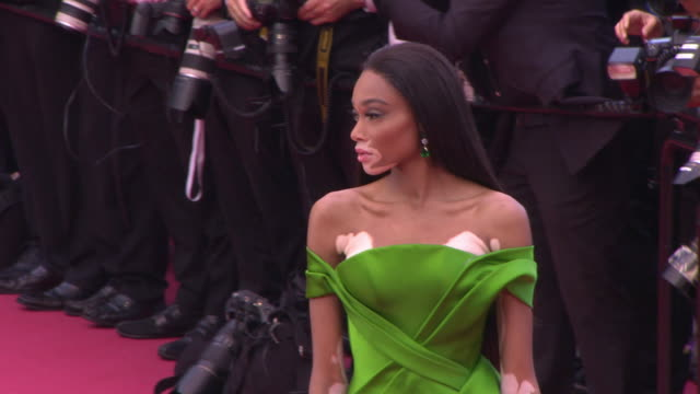 winnie harlow at blackkklansmann red carpet arrivals the 71st cannes film festival at grand theatre lumiere on may 14 2018 in cannes france - winnie harlow stock videos & royalty-free footage