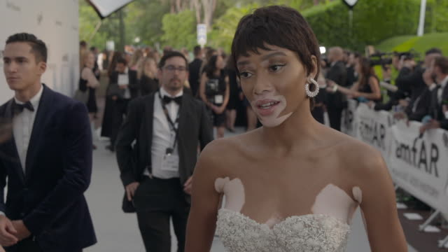 INTERVIEW Winnie Harlow on being at amfAR on the atmosphere backstage at amfAR Gala Cannes 2017 at Hotel du CapEdenRoc on May 25 2017 in Cap...