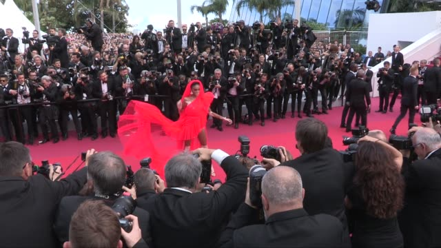 winnie harlow on the red carpet for the screening of once upon a time in hollywood cannes france on tuesday may 21 2019 - 72nd international cannes film festival stock videos and b-roll footage