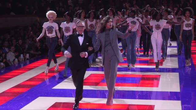 winnie harlow tommy hilfiger dilone zendaya coleman grace jones and more on the runway for the tommy x zendaya tommy hilfiger ready to wear fall... - tommy hilfiger designer label stock videos and b-roll footage