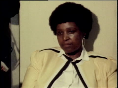 Winnie Mandela reads political demands to President PW Botha at press conference Winnie Mandela reads demands to PW Botha on August 22 1985 in South...