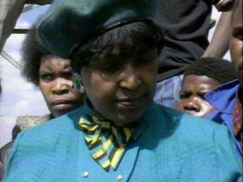 Winnie Mandela speaks out publicly about her treatement in the hands of South African police following criminal charges of kidnap and assult