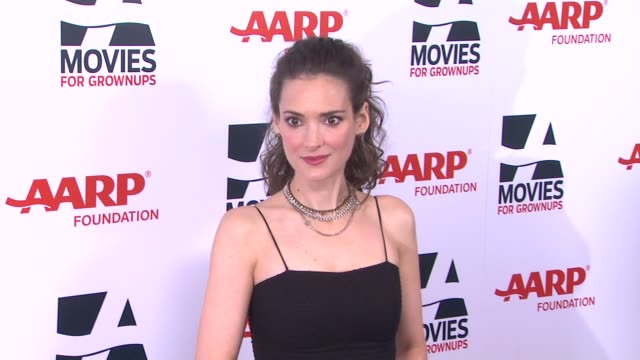 winona ryder at 13th annual aarp's movies for grownups awards gala at regent beverly wilshire hotel on in beverly hills, california. - winona ryder stock videos & royalty-free footage