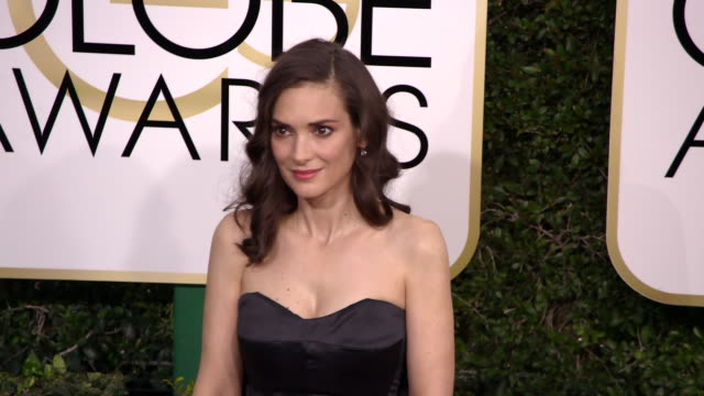 winona ryder at 74th annual golden globe awards - arrivals at 74th annual golden globe awards - arrivals at the beverly hilton hotel on january 08,... - winona ryder stock videos & royalty-free footage