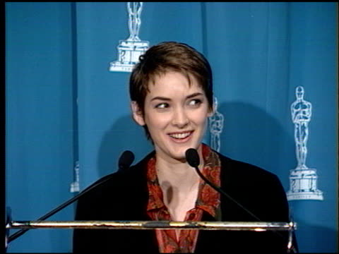 winona ryder at the 1994 academy awards luncheon at the beverly hilton in beverly hills, california on march 8, 1994. - winona ryder stock videos & royalty-free footage