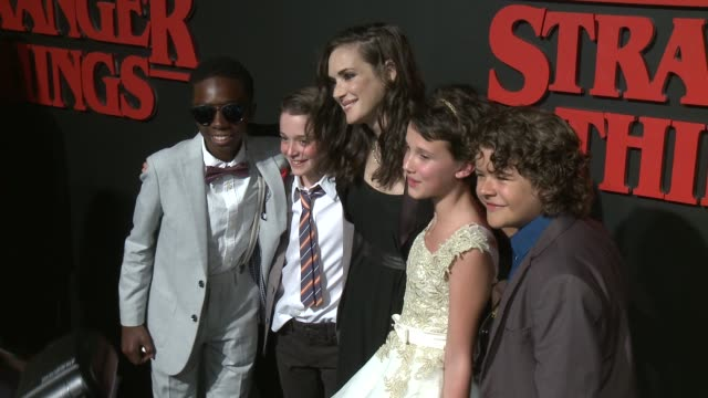 winona ryder caleb mclaughlin noah schnapp millie brown gaten matarazzo at premiere of netflix's stranger things in los angeles ca - millie bobby brown stock videos & royalty-free footage