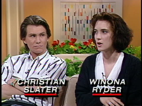winona ryder discusses her high school experience influencing her roles. christian slater also seen - winona ryder stock videos & royalty-free footage