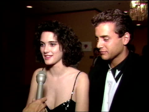 winona ryder discussing her then upcoming movie 'heathers' - heidekraut stock-videos und b-roll-filmmaterial