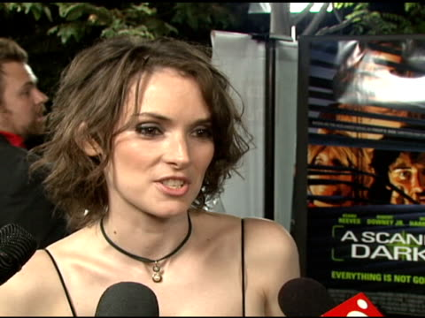 winona ryder on what drew her to the film, whether it was different to act in something that was going to be rotoscoped at the 'a scanner darkly'... - winona ryder stock videos & royalty-free footage