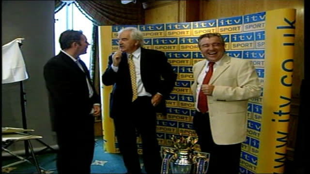 wins rights to screen fa cup and england home matches from 2008; 2.8.2001 retired footballer ally mccoist, tv presenter des lynam & former england... - ally mccoist stock videos & royalty-free footage