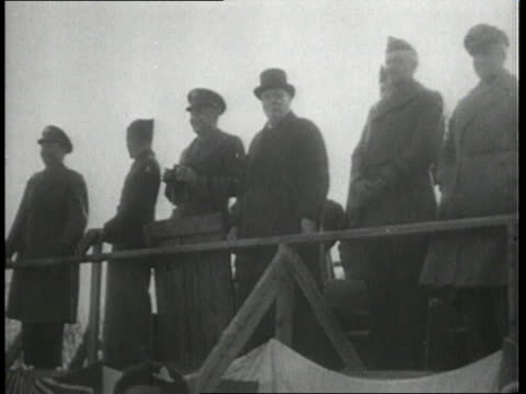 winston churchill and general eisenhower observe tank maneuvers / united kingdom - 1951年点の映像素材/bロール