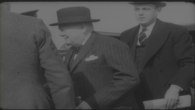 winston churchill boarding his plane as he leaves to attend the congress of europe in the hague 1948 - cigar stock videos & royalty-free footage