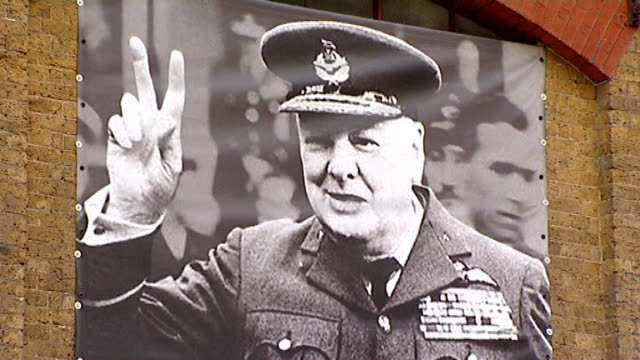 winston churchill cigar airbrushed out of exhibition poster music overlay js bach 'air on a g string' london london bridge ext britain at war museum... - airbrush stock videos & royalty-free footage