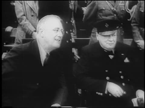 winston churchill franklin d roosevelt sitting talking / atlantic charter / newsreel - anno 1941 video stock e b–roll