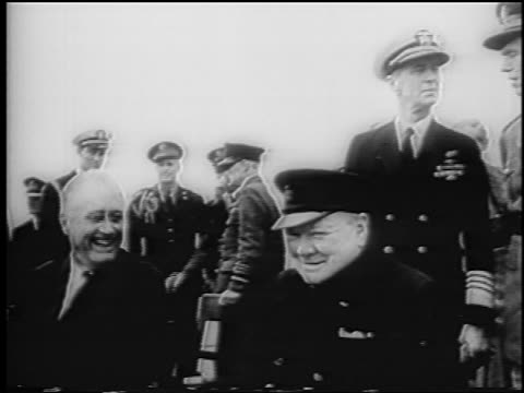 winston churchill + franklin d. roosevelt sitting talking + laughing / atlantic charter - 1941 stock videos & royalty-free footage