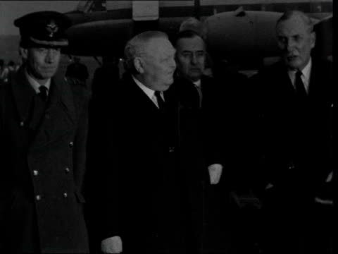 stockvideo's en b-roll-footage met arrivals for state funeral ***also england london raf northolt ms ludwig erhard off plane greets ms erhard towards with other and passed to bv day ms... - politics