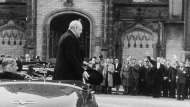 winston churchill in 1945 victory parade and speaking / london, england - 1945 stock videos & royalty-free footage