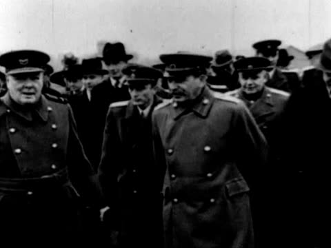 winston churchill joseph stalin anthony eden and vyacheslav molotov meeting at tolstoy conference in moscow in 1944 - vyacheslav m. molotov stock videos and b-roll footage