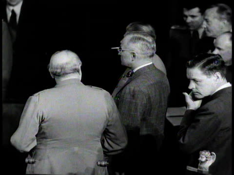 winston churchill joseph stalin anthony eden harry s truman shaking hands at potsdam conference july 25 1945 / germany - potsdam conference stock videos and b-roll footage