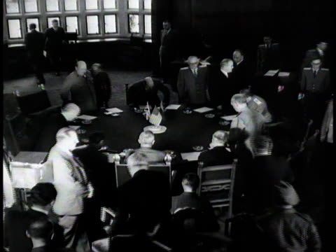 winston churchill joseph stalin clement attlee and harry s truman gathering around round table at potsdam conference july 25 1945 / germany - potsdam conference stock videos and b-roll footage