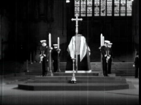 winston churchill lying in state:; 3. england: london: westminster: westminster hall: pan crowd outside st stephens entrance ditto: with policewoman... - cushion stock videos & royalty-free footage